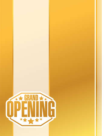 opening: grand opening gold card sign stamp background illustration design