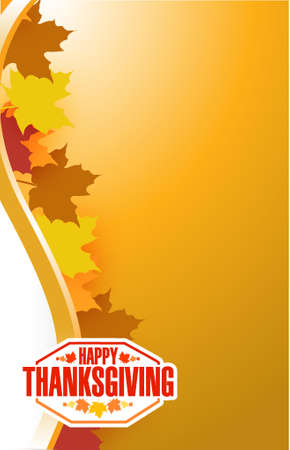 happy family nature: Happy thanksgiving stamp illustration sign over autumn leaves background