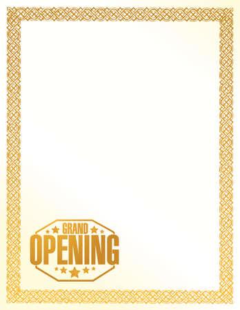 stamp design: grand opening sign stamp gold border background illustration design