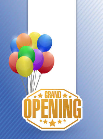inauguration: grand opening sign stamp balloon background illustration design