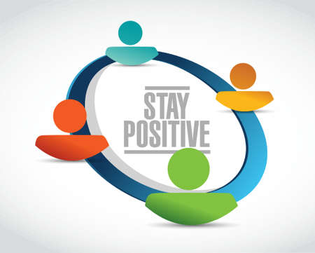 stay positive people network sign illustration design graphic