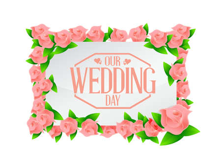 our: our wedding day pink flowers board illustration design