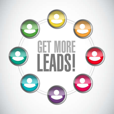 leads: Get More Leads connections sign illustration design graphic Illustration