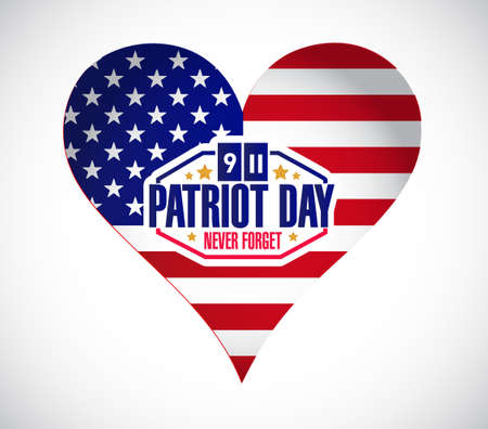 day sign: Us heart patriot day sign illustration design graphic