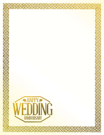 golden border: Happy weeding anniversary stamp over a golden border background Illustration