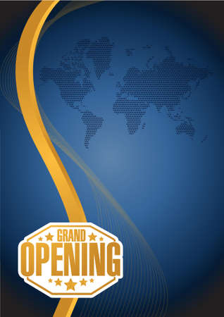 inauguration: grand opening sign gold card background illustration design