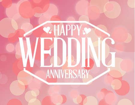 aniversario de boda: Feliz sello de escarda aniversario sobre un fondo de color rosa bokeh Ilustración de diseño gráfico