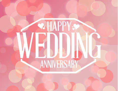 weeding: Happy weeding anniversary stamp over a pink bokeh background illustration design graphic