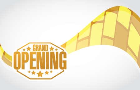 grand opening stamp sign gold wave background illustration design