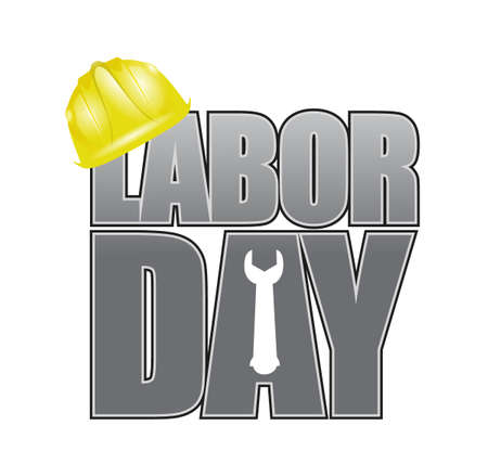 work worker workforce world: Labor day helmet and wrench sign illustration design icon graphic