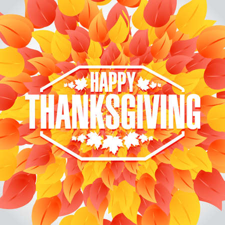 thanksgiving day: Happy thanksgiving stamp illustration sign over autumn color leaves