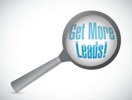 Haal meer Leads vergroot glas illustratie teken grafisch Stock Illustratie