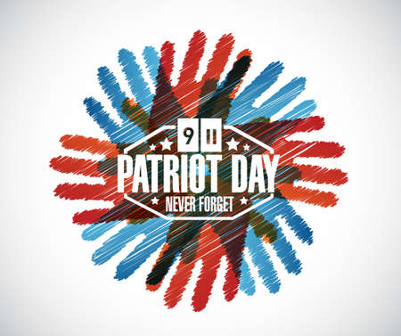day sign: Never forget. hands patriot day sign illustration design graphic Vectores