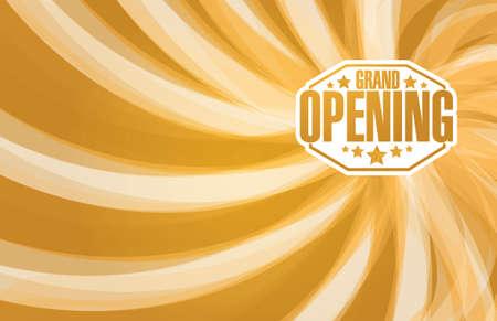 stamp design: grand opening sign stamp gold waves background illustration design Illustration