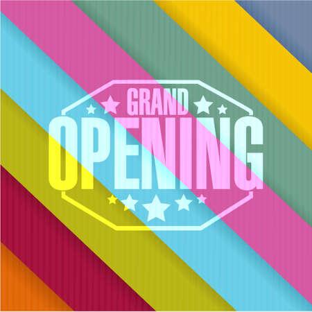 grand opening sign stamp color lines background illustration design