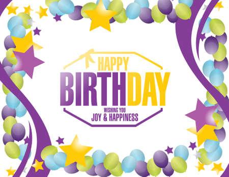 kids birthday party: happy birthday stamp balloons border illustration design graphic