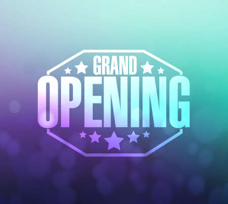 opening party: grand opening sign over a aqua and purple background illustration design