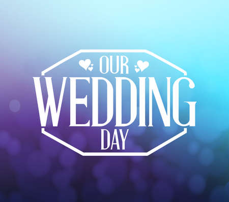 our: our wedding day purple and blue bokeh background illustration design