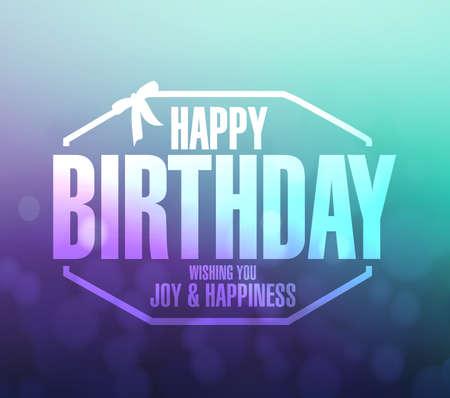 regard: happy birthday stamp aqua and purple background illustration design graphic Stock Photo