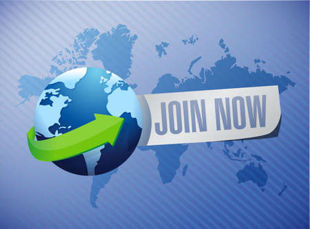 Join Now international background sign concept illustration design graphic