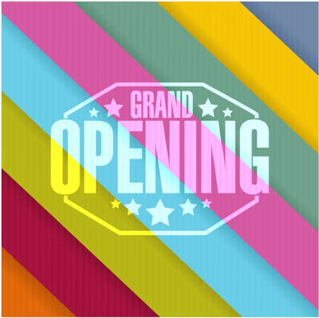 graphic display cards: grand opening sign stamp color lines background illustration design