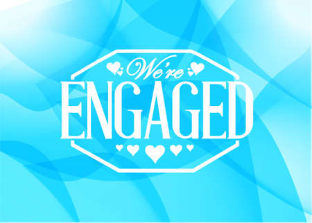 engaged: we are engaged sign stamp blue abstract background illustration design