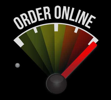 order online: Order online meter sign concept illustration design graphic