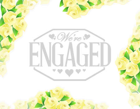 engaged: we are engaged stamp yellow roses border background illustration design