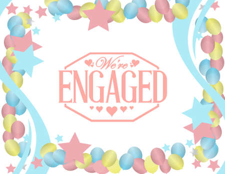 weeding: we are engaged stamp sign balloon party background illustration design