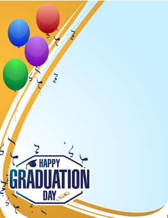 graduacion: feliz día de graduación invita a la tarjeta ilustración gráfica de diseño