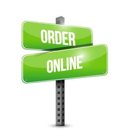 order online: Order online street sign concept illustration design graphic