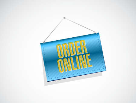 order online: Order online banner sign concept illustration design graphic