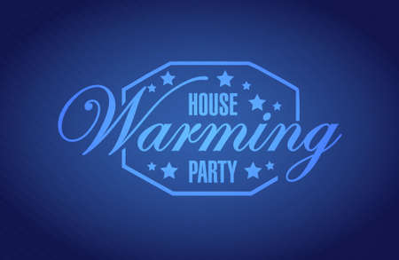 house warming: house warming party blue background sign illustration design graphic Illustration