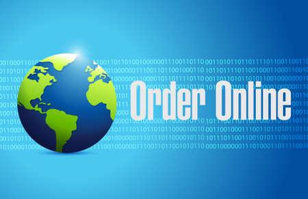 order online: Order online international globe sign concept illustration design graphic Illustration