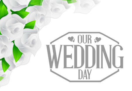 stamp design: our wedding day stamp and white flowers illustration design