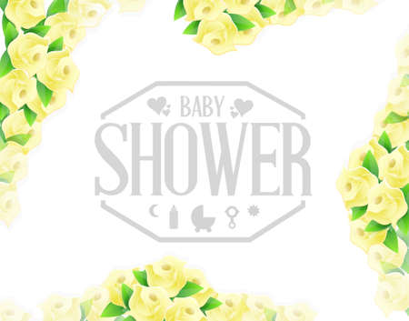 baby shower yellow: baby shower yellow roses sign illustration design graphic