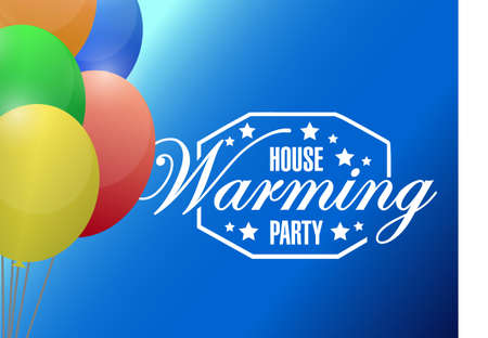 house warming party: house warming party balloons background sign illustration design graphic