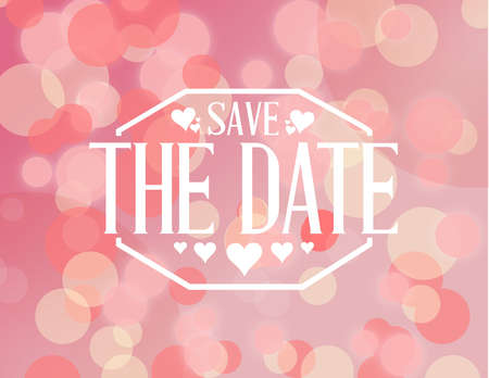 save the date pink bokeh background sign illustration design graphic