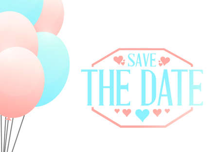 date: save the date balloons sign illustration design graphic Illustration