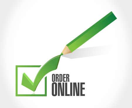 order online: Order online check mark sign concept illustration design graphic