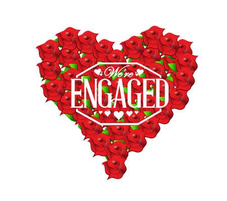 rosas rojas: estamos comprometidos selling signo rosas rojas corazón ilustración de diseño