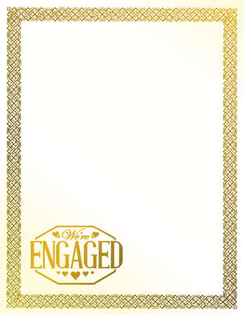 engaged: we are engaged stamp sign gold border background illustration design