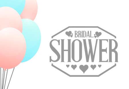 royal person: bridal shower balloons sign illustration design graphic background