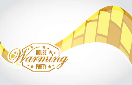 house warming: house warming party gold wave background sign illustration design graphic