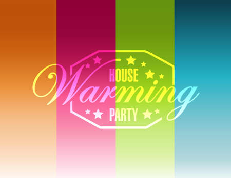 house warming: house warming party color lines background sign illustration design graphic Illustration