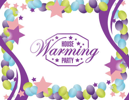 house warming party: house warming party balloons card background sign illustration design graphic