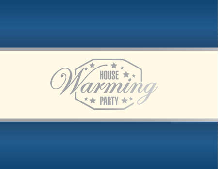 house warming party blue background sign illustration design graphic Illustration