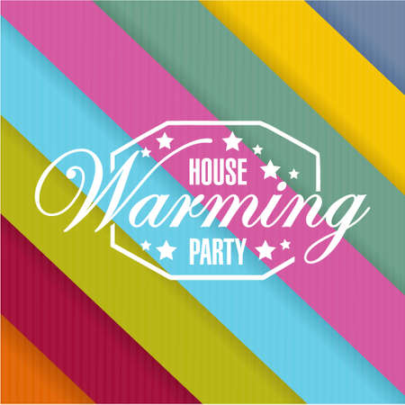 house warming party: house warming party color card background sign illustration design graphic