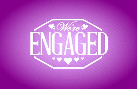 engaged: we are engaged stamp purple background illustration design