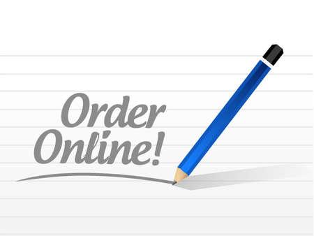 order online: Order online message sign concept illustration design graphic Illustration